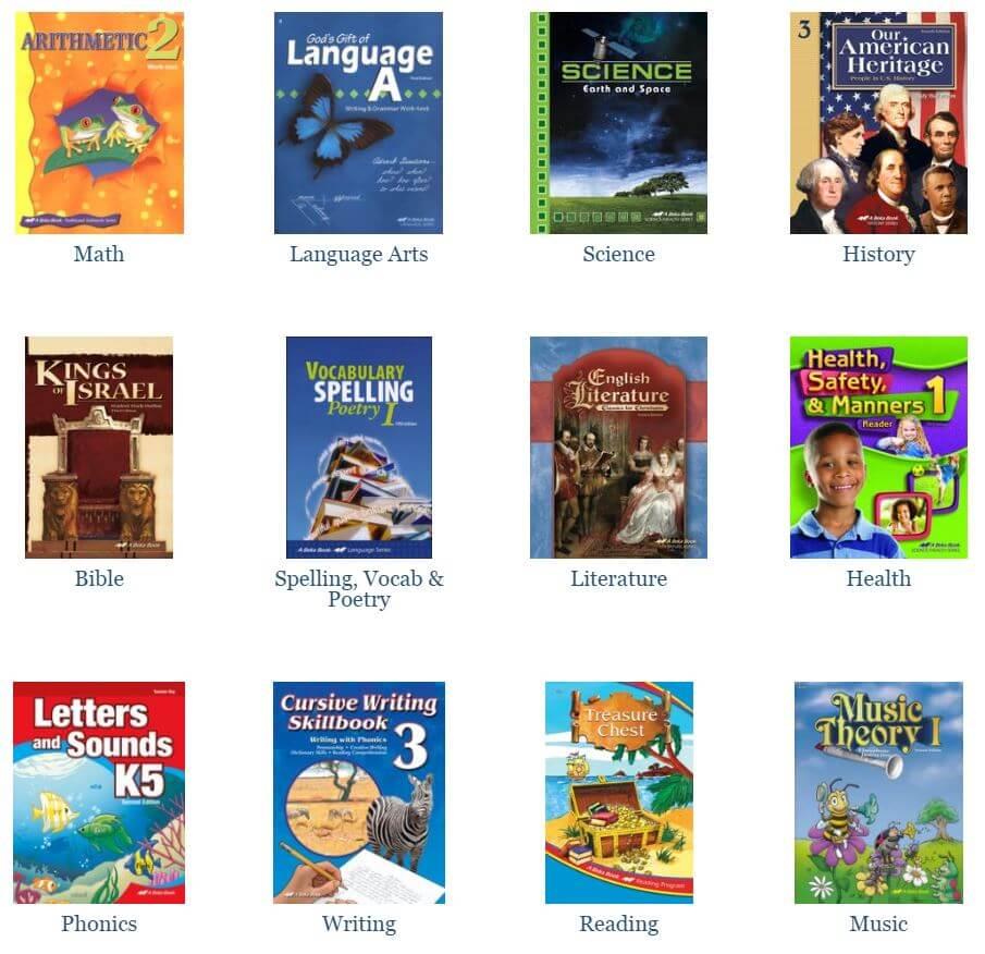 A variety of the Abeka homeschool curriculum