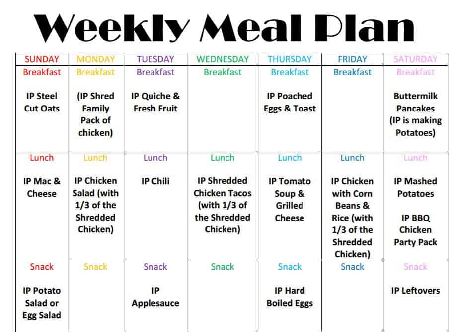 Weekly Meal Plan Screenshot Instant Pot Weekly Meal Plan Week