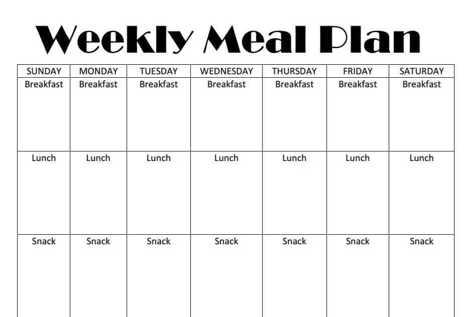 Printable Weekly Meal Plan Template – Parenting Plan Template