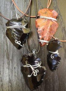 Homemade Indian Arrowhead necklaces