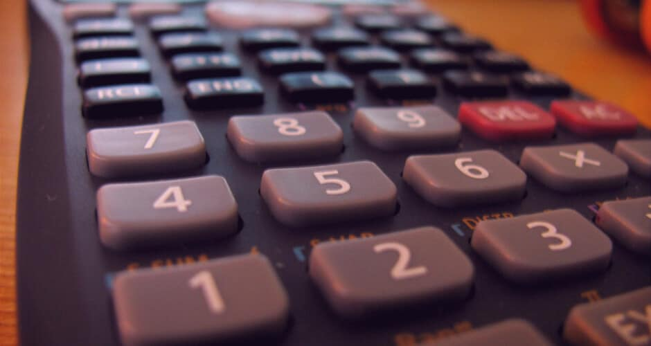 Close-up photo of the keys of a scientific calculator