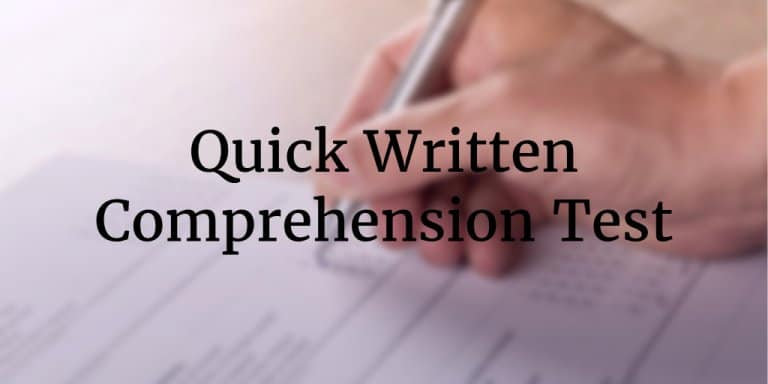 Free Online Written Comprehension Test