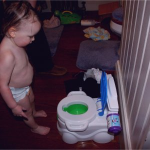 This toddler is going to be difficult to potty train!
