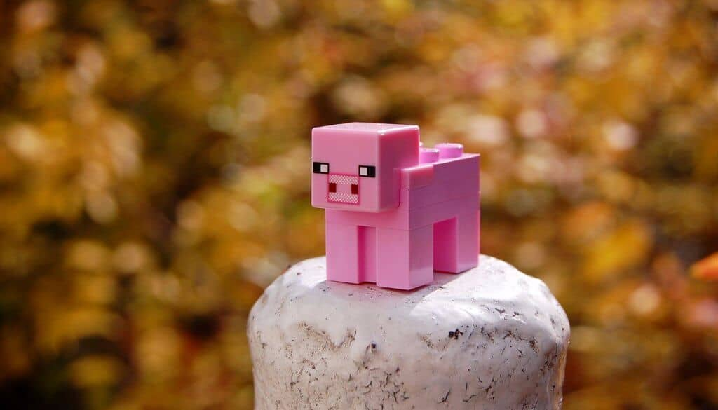 A toy pig from the minecraft computer game